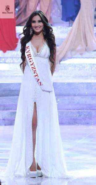 Zhibek in evening gown during the finals night